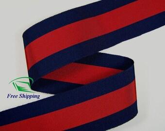 "2-1/8"" (55mm) Blue & Red Cotton Rayon Stripe Grosgrain Ribbon 1005 (BTY)"
