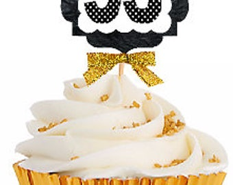 53rd Birthday / Gold Ribbon with Polka Dot Numbers Cupcake Picks / Toppers -12ct.