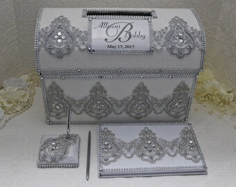 Wedding Card Box Silver For Personalized