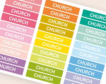 Church Heading stickers, planner header stickers, planner stickers, agenda notebook journal stickers, reminder holidays faith stickers