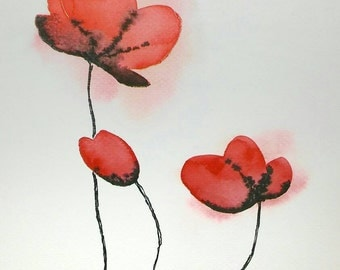 Red flowers. Original watercolor painting. Free shipping