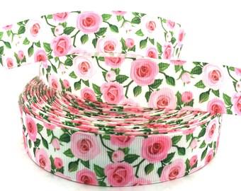 Rose Ribbon, Rose Grosgrain, Rose Print Ribbon, Flower Ribbon, Flower Grosgrain, Pink Rose Ribbon, Pink Rose Grosgrain, Pink Flower Ribbon