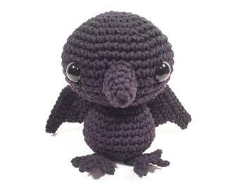 Crochet Raven Amigurumi, Stuffed Toy, Raven Plush, Raven Plushie, Stuffed Animal, Raven Toy, Stuffed Raven, Baby Shower Gift, Stuffed Crow