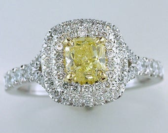 New GIA 1.51ct Fancy Intense Yellow Diamond 18K White Gold Halo Engagement Ring