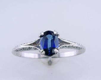 1.10ct Sapphire Diamond 14K White Gold Engagement Wedding Ring