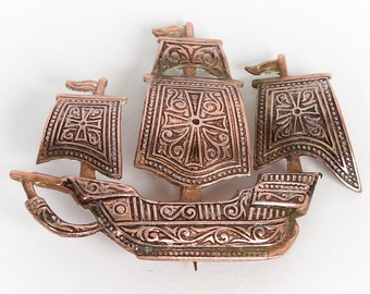 Ship Pin--Vintage Copper Spanish Galleon Ship Brooch - Marked Spain