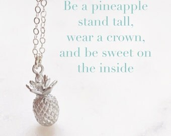 PIPER | Pineapple Necklace | Dainty Silver Pineapple Necklace | Be A Pineapple Necklace | Tiny Pineapple Necklace |Silver Pineapple Necklace