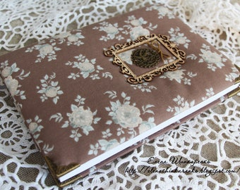Notepad for records handmade. Hardcover. Notepad line drawings. Brown. Fabric Tilda.Scrapbooking.