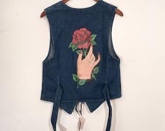 Vintage 80's Western Denim Vest Deadly Denim Rose