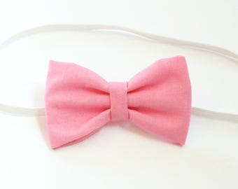 Cotton Candy Pink Baby Toddler Girl Hair Bow- headband on elastic bow hair clip
