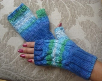 Hand Knitted Fingerless Gloves, Wrist Warmers in Multi Colour Yarn Greens and Blues
