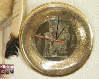 Egyptian Brass Plate Wall Clock