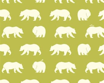 Green Organic Cotton Fabric,Modern Woodland, Bear Camp Grass, Birch Fabrics, Bear Camp, Quilting Material By the Yard, Yardage, Kids room