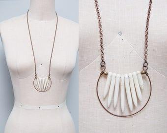 Handmade Copper & Ivory Stone Spike Pendant Long Boho Necklace