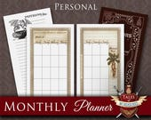Printable Monthly Planner, Planner Inserts | POTIONS | Personal size | Monthly view, Divider & Notes pages
