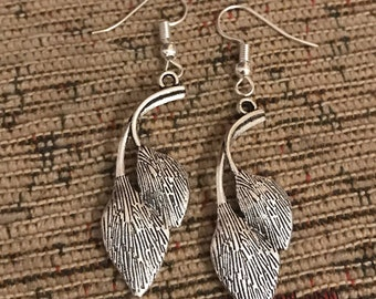 Leaves silver dangly earrings