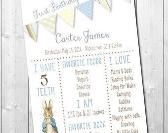 Peter Rabbit Birthday Chart printable/Digital File/any size/stats chart, birthday sign, birthday chart, vintage,/wording can be changed