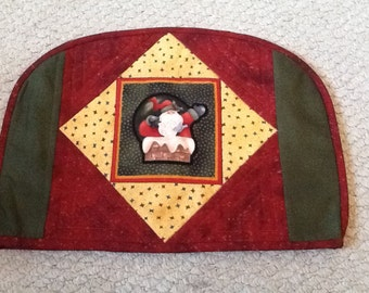 Christmas teapot cover ,Santa and snowman patchwork and quilted