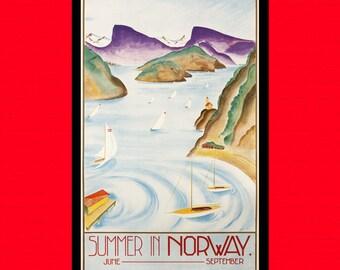 Norway Travel Print - Norway Poster Vintage Travel Poster Scandinavian Print Travel Wall Art Travel Decor Norvegian Print BUY 2 GET 1 FREE