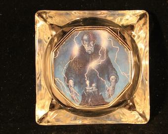 Frankenstein Ashtray OOAK Rusty Bones Up Cycled Vintage Glass Felt Bottom Cigarette Smoker Tobacco Pipe Gift Frankenstein's Monster Fan Art