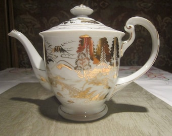 Vintage Kutani Teapot Vintage 1930's Porcelain Gold Gilt Japanese Village Mt Fuji Home Decor Kitchen Serving Collectible Replacement -CT0235