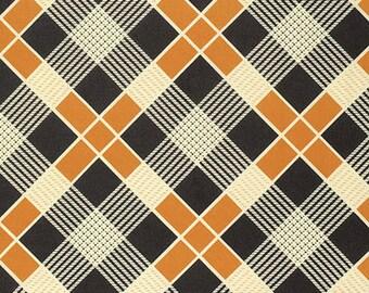Black And Orange Plaid Fabric Etsy