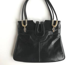 Vintage Lou Taylor Black Purse, 70's Lou Taylor Black and Gold Leather Handbag with Mirror
