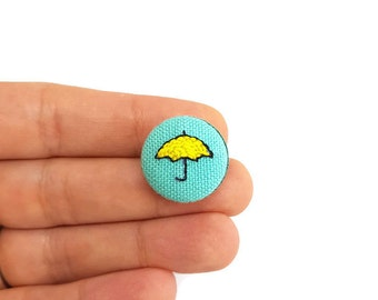 Yellow Umbrella How I Met Your Mother (HIMYM) handmade embroidered on canvas pinback button / Gift Idea / Pin buttons/2cm/ Accessory & Pins