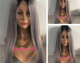 ombre black roots silvery grey 7A human virgin brazillian hair straight front lace wigs&full lace wigs glueless  human hair wigs