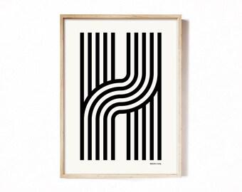 Letter H - modern typography alphabet print.