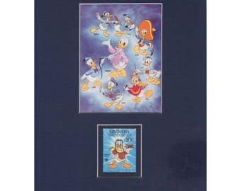 Disney Postage Stamp Art - Donald Duck Through the Years photo and Geneda Grenadines Donald Duck Postage Stamp
