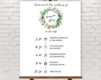 Wedding Timeline Sign / Wedding Itinerary Agenda, Icons / Cactus Succulent, Coral Flower Wreath Fiesta▷Printable File {or} Printed & Shipped