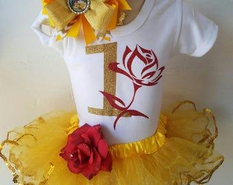 Beauty Belle Inspired tutu set