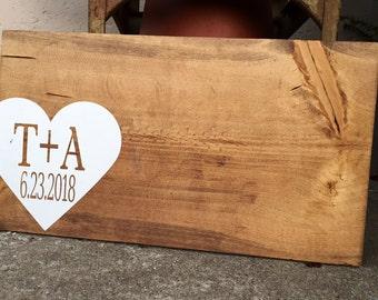 wedding guestbook, wooden guestbook, wedding alternative sign in, wedding guest sign, wedding heart, wedding guestbook hearts, rustic