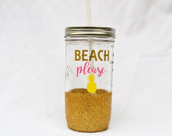 Beach Please Glitter Dipped Mason Jar Tumbler