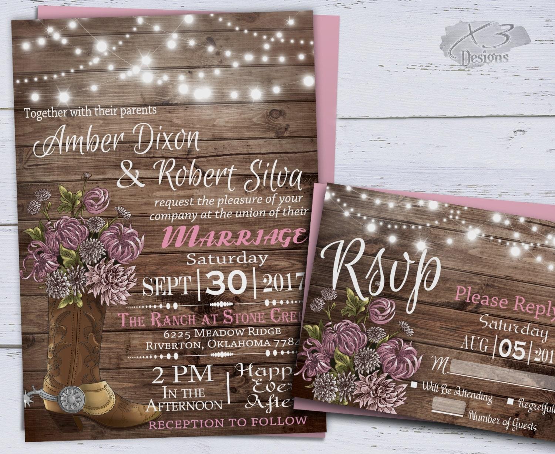 Western Wedding Invites: Country Western Wedding Invitations Printable Rustic Wedding