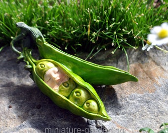 Baby in a Pea Pod for Miniature Garden, Fairy Garden