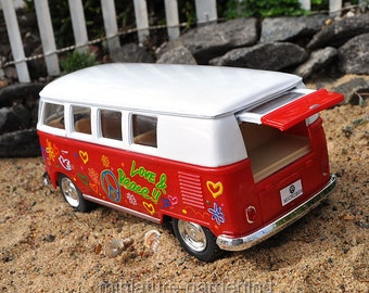 VW Disco Bus, Color Options: Red for Miniature Garden, Fairy Garden