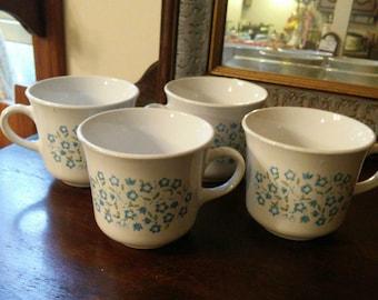Corelle Vintage Blue Heather Coffee Tea Cups