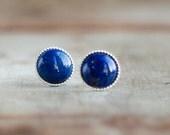 Lapis Stud Earrings in Sterling Silver, Lapis Lazuli Earrings, Lapis Ear Studs, Royal Blue Stud Earrings, 8mm Gemstone Ear Studs