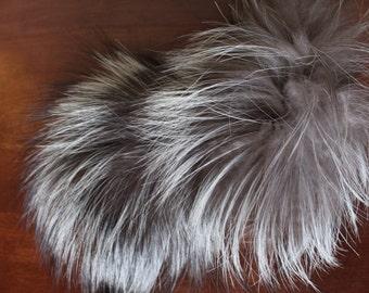 Silver Fox Fur recycled - Recycled silver fox pompom