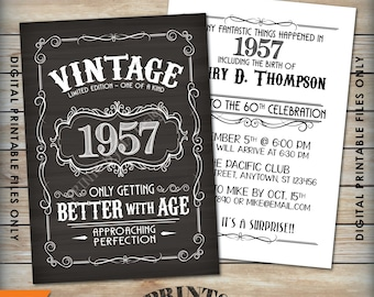 "Vintage Birthday Invitation, Aged to Perfection Birthday Invite, Better with Age, Whiskey Party, 5x7"" Chalkboard Style Printable Files"