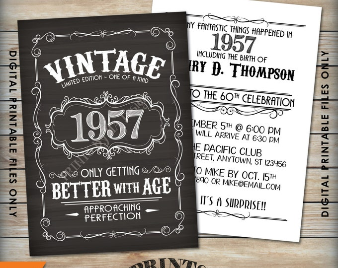 """Vintage Birthday Invitation, Aged to Perfection Birthday Invite, Better with Age, Whiskey Party, 5x7"""" Chalkboard Style Printable Files"""