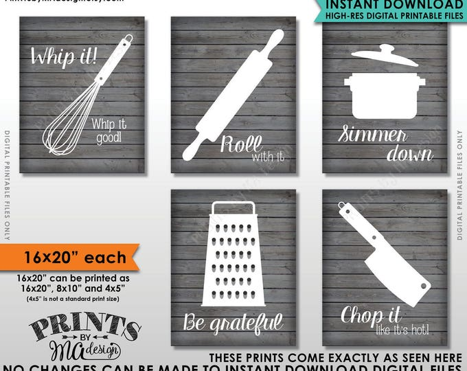 """Funny Kitchen Signs, Kitchen Decor Utensil Art, Whip It Grateful Roll Chop Simmer, Five 16x20"""" Rustic Wood Style Printable Instant Downloads"""