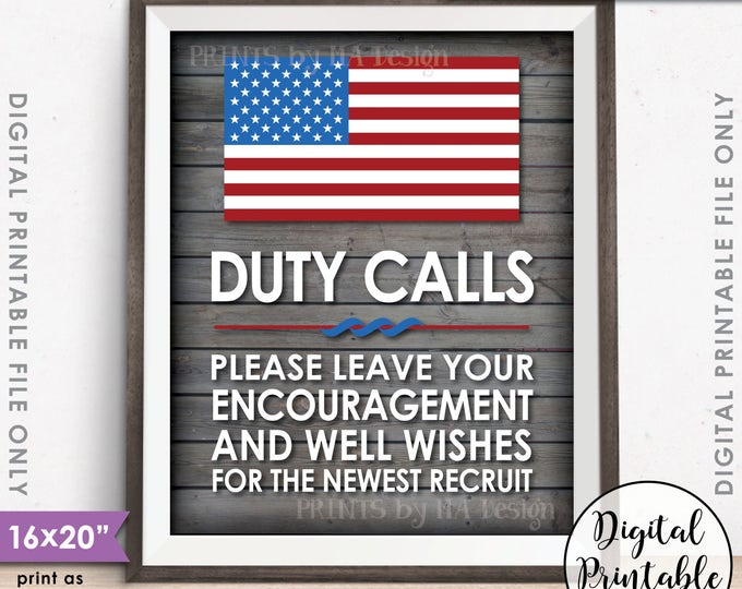 "Military Party Decor, Leave your Encouragement and Well Wishes, Boot Camp, Gray Rustic Wood Style 8x10/16x20"" Printable Instant Download"