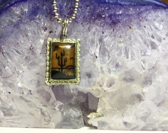 Vintage Morpho Butterfly Wing Cactus Tree Desert Scene Pendant Convex Glass