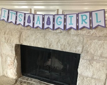 """Purple/white/teal """"It's A Girl"""" baby shower banner, baby shower decorations"""