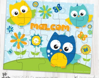 SALE Owl personalized puzzle, 20 pieces puzzle, name puzzle, Personalized name puzzle, Kids Personalized Gift - PU160