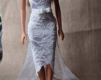 Wedding Dress with hair accessory/ White lace Dress/ Barbie Dress/ Barbie Accessory