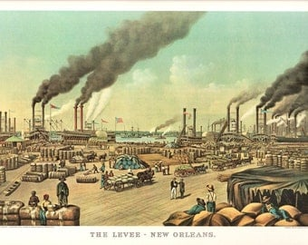 The Levee New Orleans an Extra Large Print from Currier and Ives. The page is 18 3/4 inches wide and 14 inches Tall.